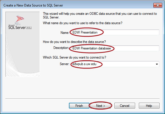 Create new data source window