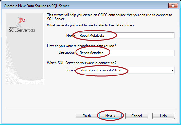 Report Metadata ODBC Server Connection